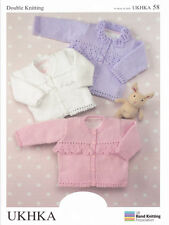 "Baby DK Double Knitting Pattern Childrens Sweater Cardigans 16-26"" UKHKA 58"