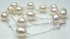 16''natural 9-10mm AAA white pearl necklace 925s chain