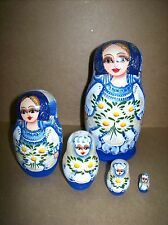 Peasant Girl Nesting Doll (Blue with Flowers #72) - 5 Doll Russian Nesting Doll
