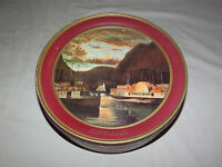 VINTAGE CURRIER & IVES NIGHT ON THE HUDSON FRANCIS SKIDDY PADDLE WHEEL LARGE TIN