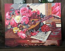VINTAGE ROSES CHIC PBN PAINT BY NUMBERS FLORAL MANDOLIN SHEET MUSIC REDS PINKS