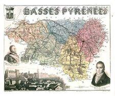 Réédition de gravure ancienne carte région département français Basses Pyrénées