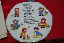 Raggedy Ann & Andy Wall Plate Birth Days of the Week Albert E Price 1975 Japan
