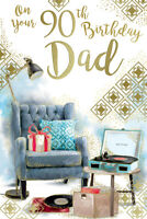 Happy 90th Dad 90 Arm Chair & Record Player Design Birthday Card Lovely Verse