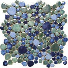 N. 1 Foglio Mosaico Ciottolo ceramica Mix Blu Verde Azzuro lucido avalonrelax