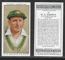 PLAYERS 1934 CRICKETERS W.A.OLDFIELD Card No 46 of 50 CRICKET CIGARETTE CARD