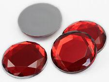 30mm Red Ruby H103 Large Flat Back Acrylic Rhinestones High Quality - 6 PCS