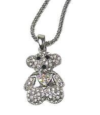 Silver Baby Teddy Bear Heart Crystal Rhinestone Necklace Pendant Animal Jewelry