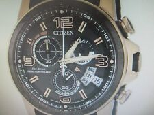 CITIZEN ECO-DRIVE MEN'S A.T WORLD TIME S/S RUBBER RADIO-CONTROLLED BY0119-02E