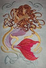 "Embroidered Quilt Block Panel ""Mermaid"" Pure Irish Linen Fabric"