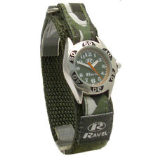 RAVEL CHILDS ARMY WATCH GREEN CAMO CAMOUFLAGE RIP EASY FASTEN STRAP  R1507.05