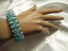 SKY BLUE Aurora Borealis Bead Silver/CLEAR Rhinestone Stretch Bracelet LA2B217