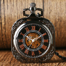 Retro Hand-winding Mechanical Square Open Face Roman Numerals Pocket Watch Chain