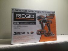 RIGID 18v Drill/Impact Drill Brushless Combo + Charger  2 Batteries & Case .