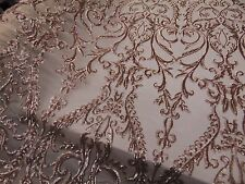 SWEETHEART Damask 4-Way Stretch Mesh Lace CHAMPAGNE  Tiny Sequin Fabric  56""