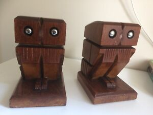 Pair of Vintage Hardwood Bookends in the Form of Owls
