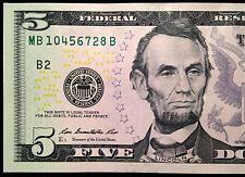 """2013 $5 Five Dollar Bill, No Repeats Serial Number has """"4567"""" Mini-Ladder, FRB B"""