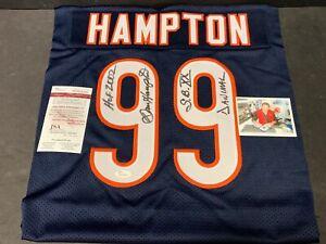 Dan Hampton Chicago Bears Autographed Signed Jersey SWATCH 16x20 JSA WITNESS COA