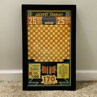 Antique Jackpot Charley 25ct Ball Punch Board Gambling Game Framed Vtg Old Stock