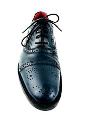 Base London Waltham Men's Brogue Dress Blue Black Shoes Size US.9 UK.8.5 EU.42