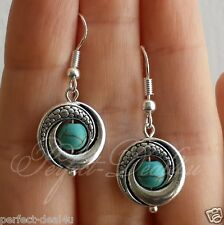 Sterling Silver hooks Jewelry Women Blue Turquoise Howlite Round Earrings 925