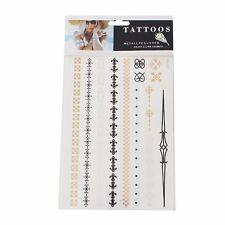 Neu Einmal Klebe Tattoo Flash Armband Kette Hals 13teilig gold schwarz silber