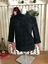 JOSEPH RIBKOFF Black Soft Fuzzy Chic Turtleneck Sweater Size 6