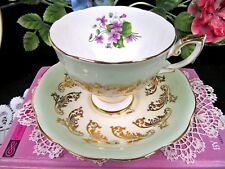 Royal Standard tea cup and saucer gold gilt pale green Violets Teacup