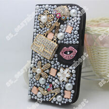 DIY Flip Leather 3D Bling Crystal Flower Wallet Case Cover For Huawei Honor