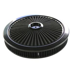 """Extraflow All Black Air Filter Cleaner 14""""x 2"""" Holley 5-1/8"""" Standard Base"""