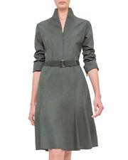 Akris Switzerland $2490 Long-Sleeve Mock-Neck A-Line Shirtdress Algae Size: 6