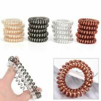 12Pcs Rubber Telephone Wire Hair Ties Elastic Spiral Slinky Hair Head Bands New