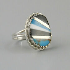 Vintage Turquoise Inlay Ring Southest Striped Shell Cocktail Ring Onyx Size 7