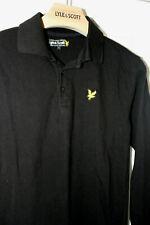 Mens LYLE & SCOTT polo t shirt. Long Sleeve. Black. Size L