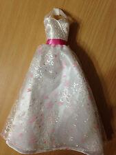 Barbie Princess Bride Wedding Day White Pink Floral Halter Glitter Dress Gown