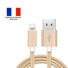 CÂBLE IPHONE / CHARGEUR IPHONE / PORT LIGHTNING VERS USB / NYLON / BEIGE / 1M