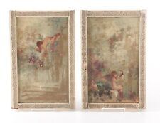 Beautiful Pair 18th C. Oil Canvas Cupid Putti Angel Paintings Early Gilded Frame
