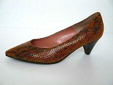 BUFFALO Pumps Kitten Heels Damen Schuhe 38 UK 5 orange Schlange Leder Slippe NEU