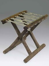 A Chinese Antique Wood Rope Folding stool 10.6' H light wood tone ancient chair