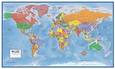 Laminated World Map Wall Poster Big Large Giant Globe Classroom Pull Roll Down