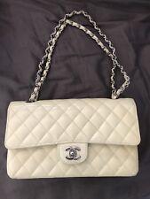 Authentic chanel medium classic flap bag patent purse shoulder White Ivory