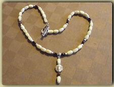 Collier ras du cou perles de Verre blanc Cassé & marron 42 cm  Necklace