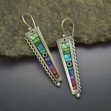 925 Silver Amethyst Moonstone Turquoise Opal Ear Hook Stud Dangle Drop Earrings