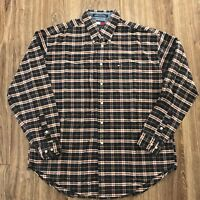 VTG Tommy Hilfiger Flag Box Logo Blue Checkered Plaid Cotton Flannel Shirt Sz XL
