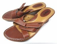 BORN MULES SANDALS SLIDES SLIP ON BROWN LEATHER WOMEN'S SHOES SIZE 8