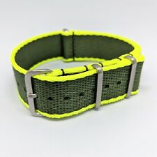 20mm Premium Contrast Colour Edged Seatbelt NATO Watch Strap - Green & Yellow