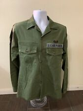 Vintage USAF Military Green Utility Shirt Polyester/Cotton Men Size 15.5x35