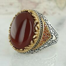 HandMade 925 Sterling Silver Red Agate Gemstone Men Ring Ottoman AAA Quality