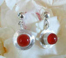 Earring Sterling Silver 925 with Red Carnelian Round Disc Stone of the September