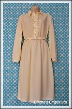 Vintage Debenhams Cream Spring Dress with Collar, Belt & Sleeves - With Tags